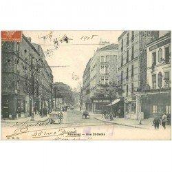 carte postale ancienne 92 ASNIERES SUR SEINE. Rue Saint Denis 1908 Hôtel Voltaire et Cacao Van Houten