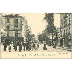 carte postale ancienne 92 ASNIERES SUR SEINE. Place de la Comète et Avenue d'Argenteuil. Impeccable et vierge