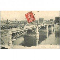 carte postale ancienne 92 ASNIERES SUR SEINE. Le Nouveau Pont 1909 attelage