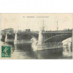carte postale ancienne 92 ASNIERES SUR SEINE. Le Nouveau Pont 1908