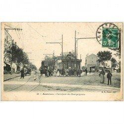 carte postale ancienne 92 ASNIERES SUR SEINE. Carrefour des Bourguignons 1908 Tramway à Impérial