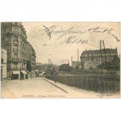 carte postale ancienne 92 ASNIERES SUR SEINE. Avenue Flachat et la Gare 1905