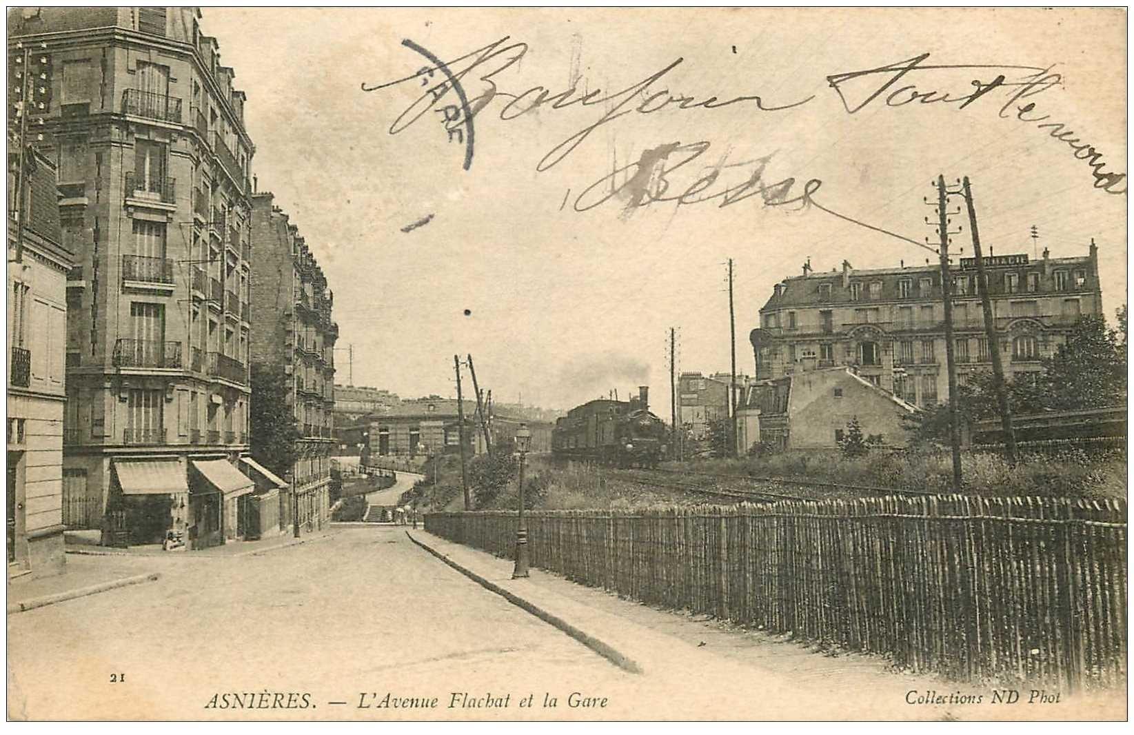 92 asnieres sur seine avenue flachat et la gare 1905. Black Bedroom Furniture Sets. Home Design Ideas