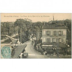 carte postale ancienne 92 VILLE D'AVRAY SEVRES. Place de la Gare rue Riocreux 1905 Restaurant des Jardies