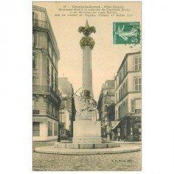 carte postale ancienne 92 LEVALLOIS PERRET. Place Chaptal Monument Capitaine Braün Maréchal des Logis Marin 1909 Café