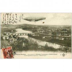 carte postale ancienne 92 BELLEVUE MEUDON.Dirigeable de Guerre République Sèvres St Cloud 1918. Zeppelin Aéronef Ballon