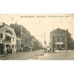 93 MONTREUIL SOUS BOIS. La Poste et Cinéma Le Casino rue de Paris 1935