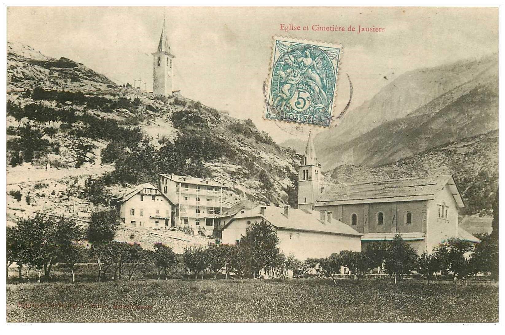 carte postale ancienne 04 JAUSIERS. Eglise et Cimetière vers 1907