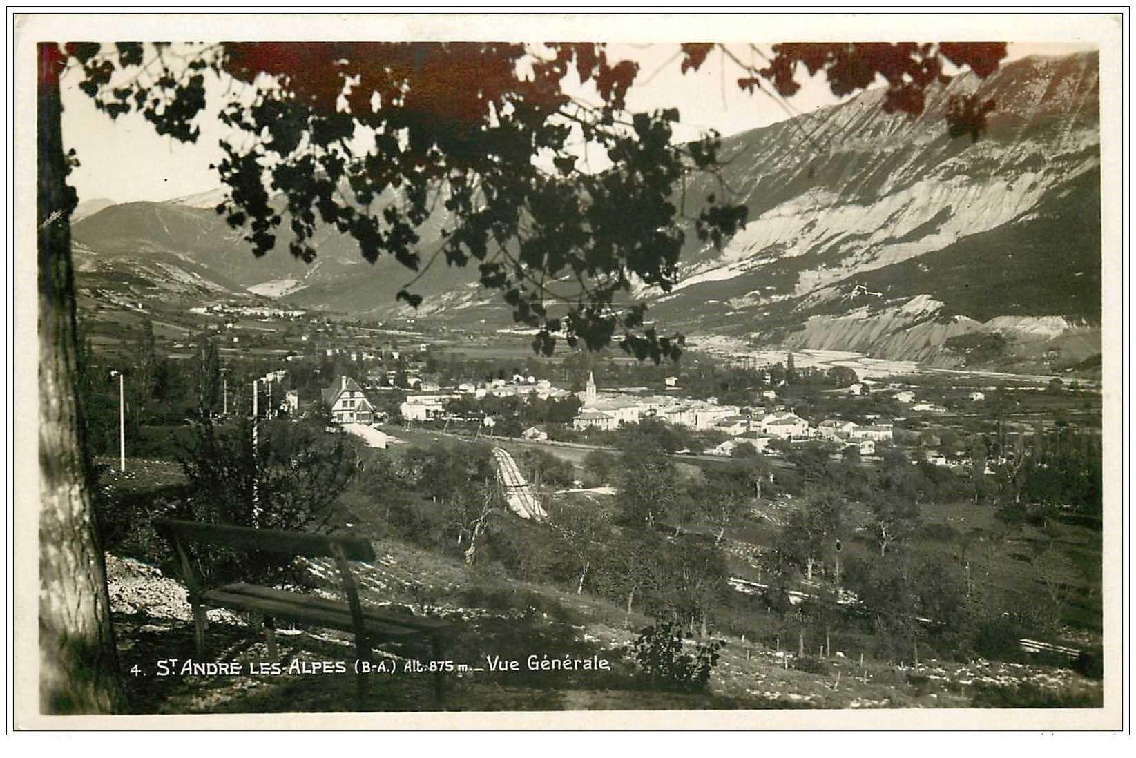 carte postale ancienne 04 SAINT-ANDRE LES ALPES. Vue générale. Cpa Photo 1937