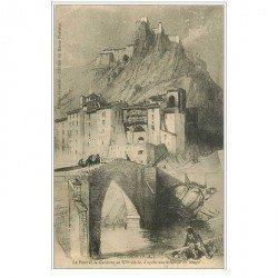 carte postale ancienne 04 SISTERON. Le Pont de la Gardette en 1828 d'après estampe