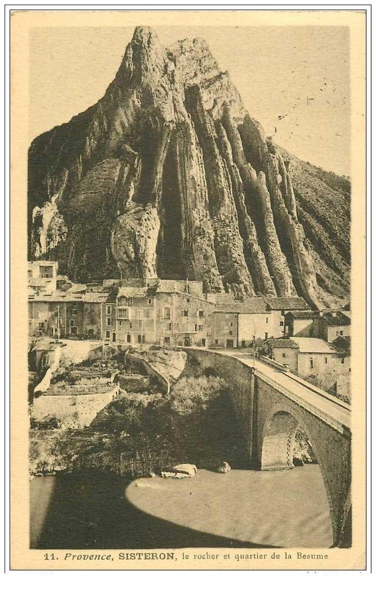 carte postale ancienne 04 SISTERON. Rocher et Quartier de la beaume 1937