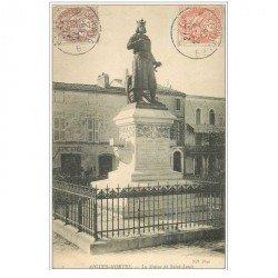 carte postale ancienne 30 AIGUES-MORTES. Statue de Saint-Louis 1908