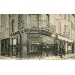 carte postale ancienne 30 ALAIS ou ALES. Mazer Magasin de Chaussures 190 Grande Rue. Carte d'invitation