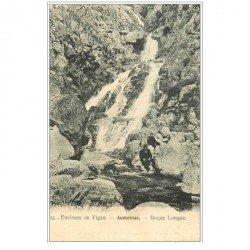 carte postale ancienne 30 AUMESSAS. Roque longue Torrent 1906 avec personnages assis