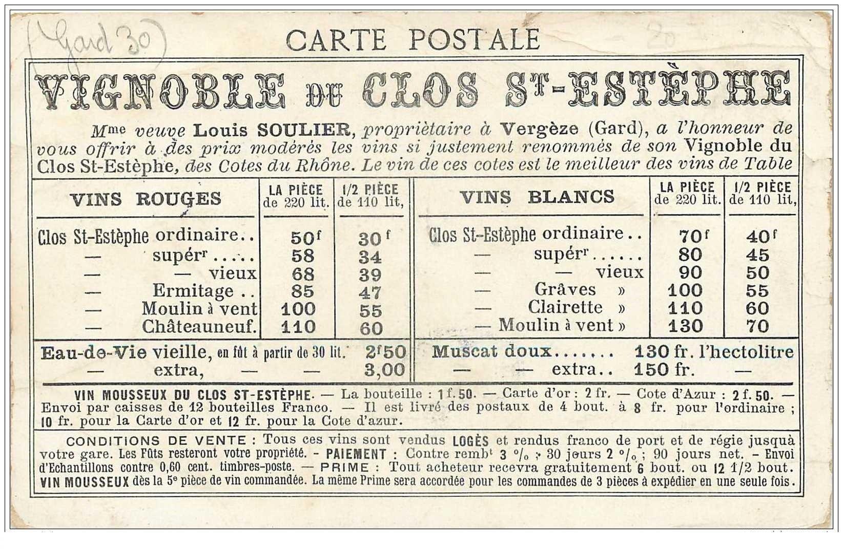 carte postale ancienne 30 LE PONT DU GARD. Carte Vignoble du Clos Saint-Esthèphe avec tarifs des Vins