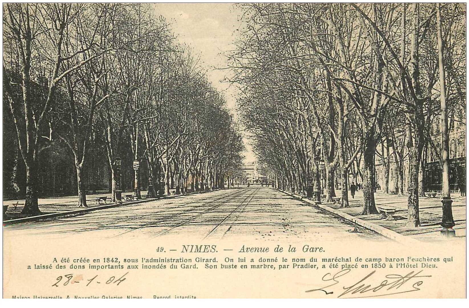 carte postale ancienne 30 NIMES. 1904 Avenue de la Gare