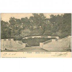 carte postale ancienne 30 NIMES. 1904 Escalier de la Fontaine
