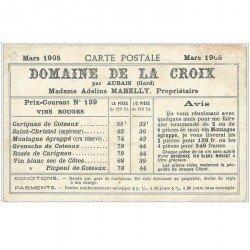 carte postale ancienne 30 NIMES. Carte Publicitaire Domaine de la Croix par Aubais. Tarifs des Vins 1905. Jardin de la Fontaine