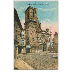 carte postale ancienne 30 NIMES. Cathédrale et Charcuterie Doulaud