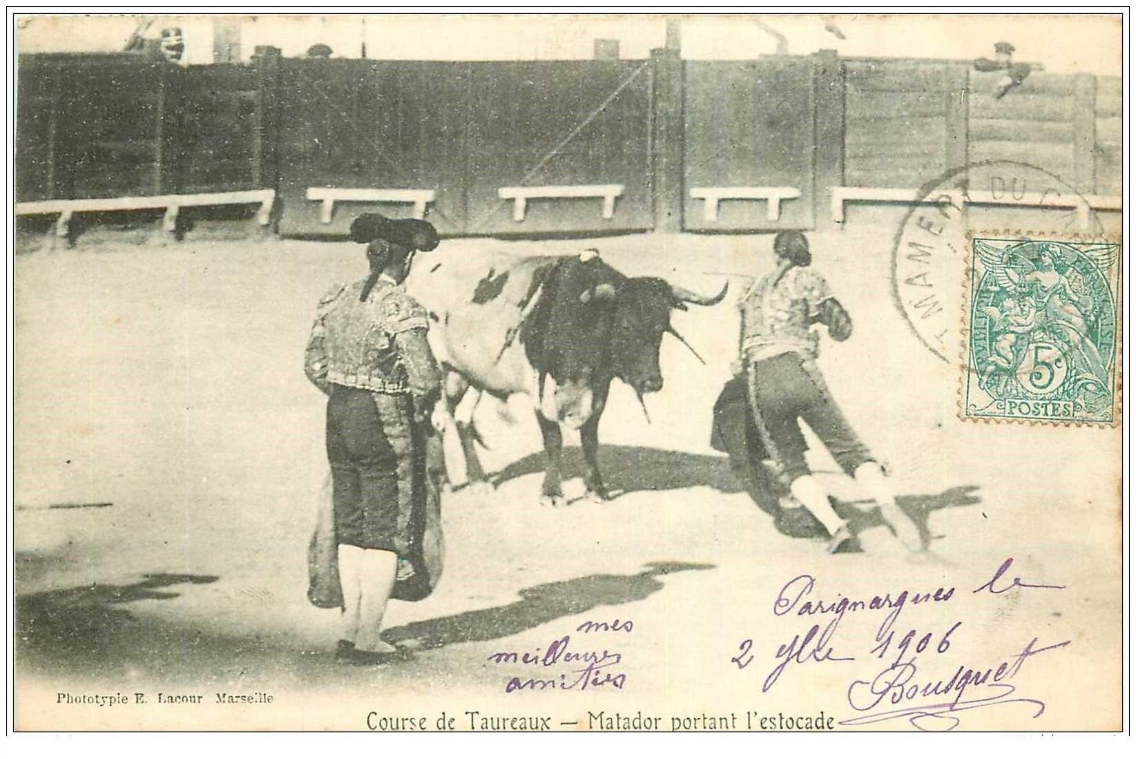 30 nimes corrida de taureaux matador portant l 39 estocade 1906. Black Bedroom Furniture Sets. Home Design Ideas