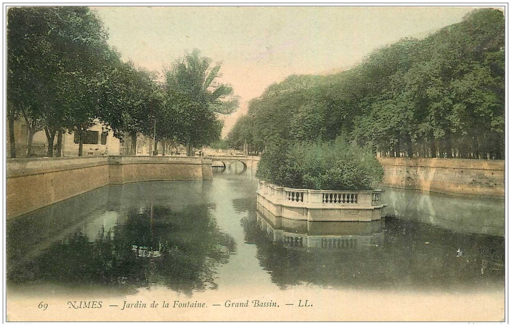 30 nimes jardin de la fontaine grand bassin 1904 - Grand bassin de jardin ...