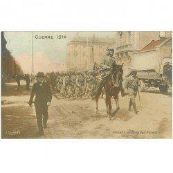 carte postale ancienne 80 AMIENS. Arrivée des Soldats Turcos Guerre 1914