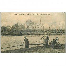 carte postale ancienne 80 AMIENS. Extraction de la Tourbe à Rivery