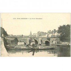 carte postale ancienne 80 AMIENS. Pont Baranban ou Ducange Horticulteurs sur barges