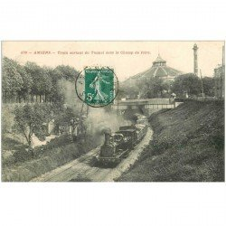 carte postale ancienne 80 AMIENS. Train sortant du Tunnel sous le Champ de Foire Locomotive à vapeur 1911
