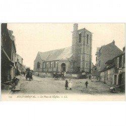 carte postale ancienne 80 AULT ONIVAL. Café Place de l'Eglise