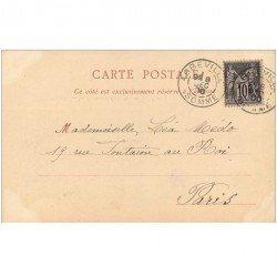 carte postale ancienne 80 ABBEVILLE. La Promenade du Canal 1900 avec Péniche