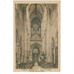 carte postale ancienne 80 ABBEVILLE. Nef Eglise Saint-Vulfran et ses Orgues
