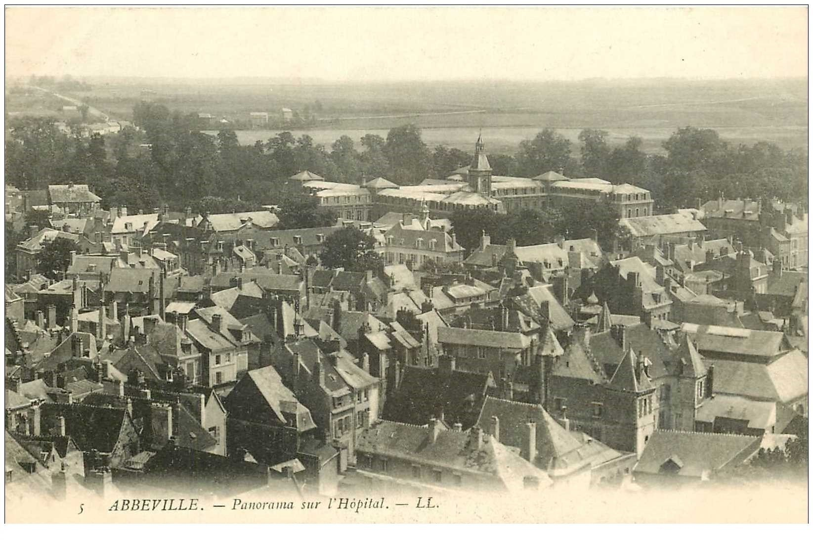 carte postale ancienne 80 ABBEVILLE. Panorama sur l'Hôpital