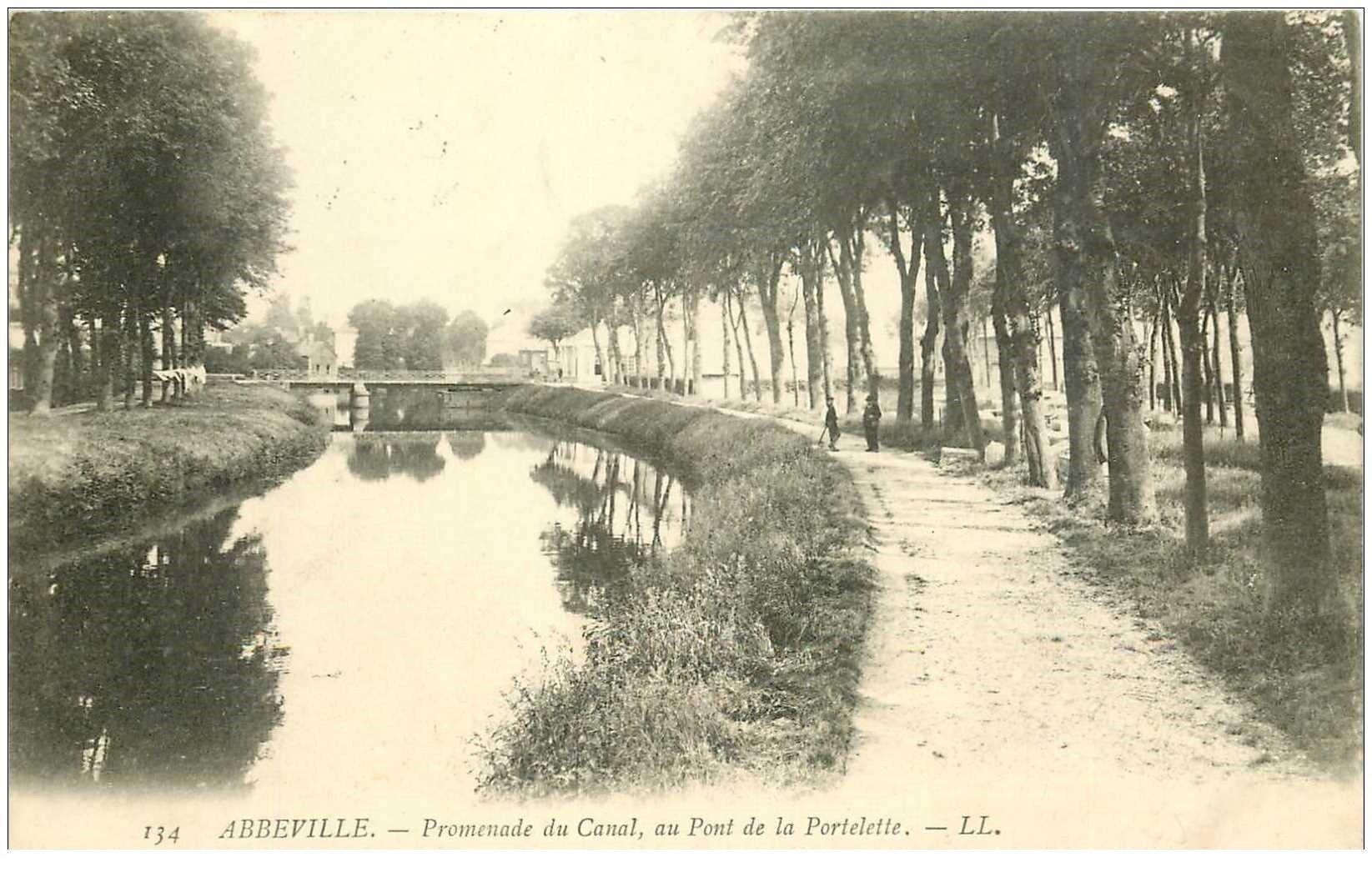 carte postale ancienne 80 ABBEVILLE. Pont Portelette promenade du Canal 1907