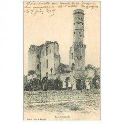 carte postale ancienne 80 AILLY SUR SOMME. Tour de Folleville 1909 grosse animation.