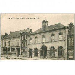 carte postale ancienne 80 AILLY-SUR-NOYE. Hôtel de Ville Café Hôtel de France et de Navarre