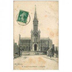 carte postale ancienne 80 AILLY-SUR-NOYE. L'Eglise 1915 animation