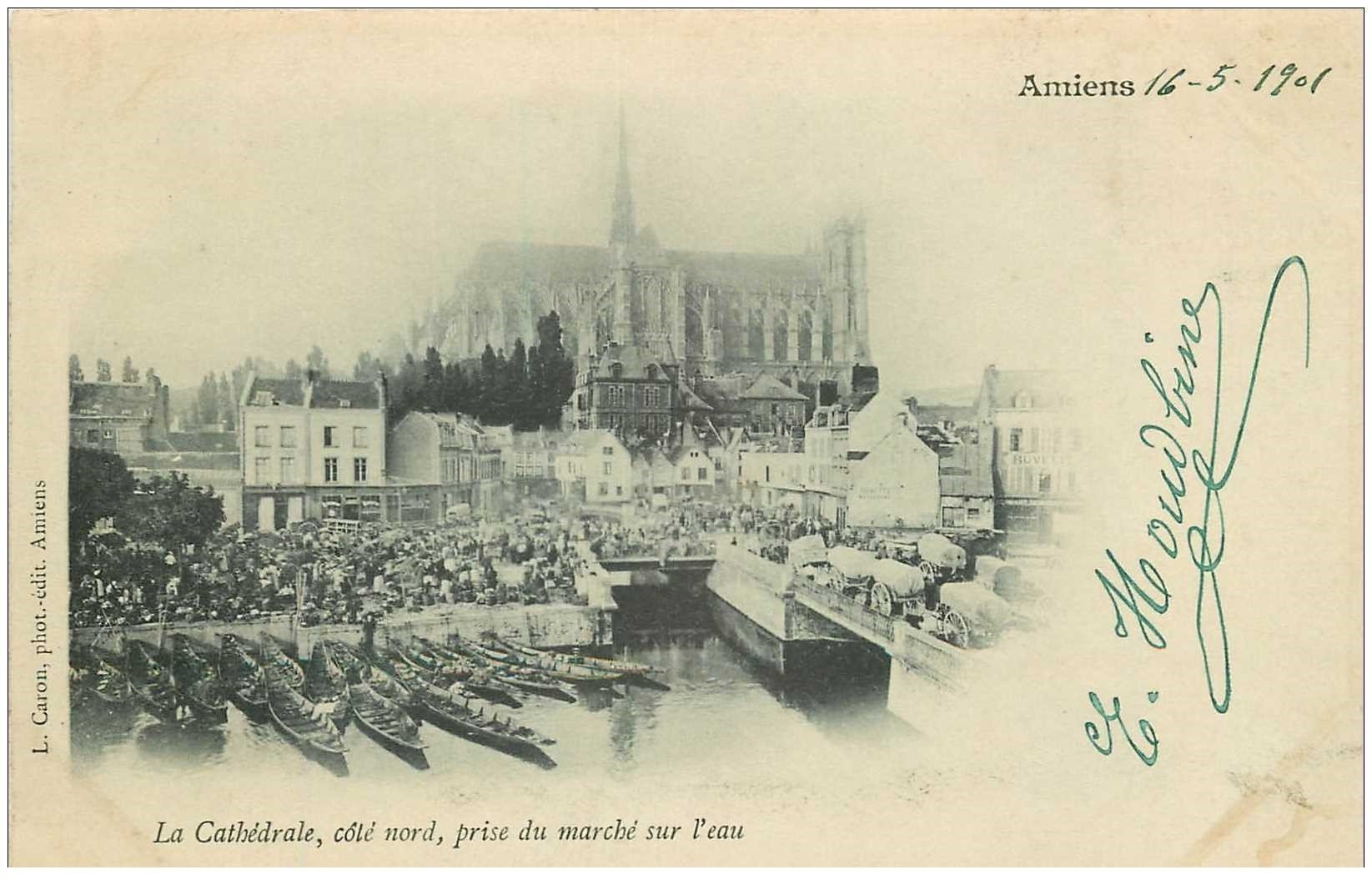 carte postale ancienne 80 AMIENS. 1901 le Marché sur l'eau