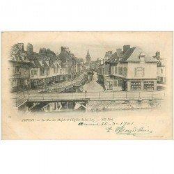 carte postale ancienne 80 AMIENS. 1901 Rue des Majots et Eglise saint-leu