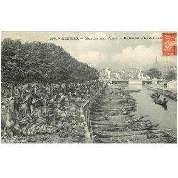 carte postale ancienne 80 AMIENS. Bateaux d'hortillons le Marché sur l'eau