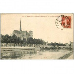 carte postale ancienne 80 AMIENS. Cathédrale prise du Port d'Amont 1912