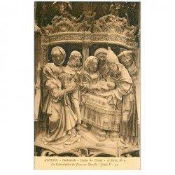 carte postale ancienne 80 AMIENS. Cathédrale Stalles du Choeur. Jésus au Temple