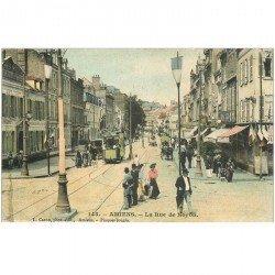 carte postale ancienne 80 AMIENS. Rue de Noyon 1905 Tramway