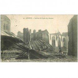 carte postale ancienne 80 AMIENS. Ruines Guerre 1914. Lycée des Garçons 1919