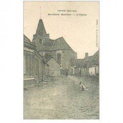 carte postale ancienne 80 ARVILLERS. L'Eglise avec Militaires et Chien