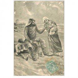 carte postale ancienne 80 AULT ONIVAL. La joie du retour du Pêcheur 1905. Métiers de la Mer