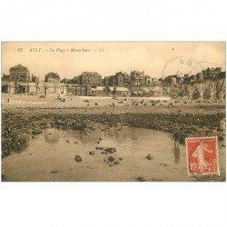 carte postale ancienne 80 AULT. La Plage à Marée basse 1913