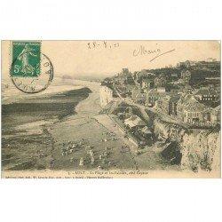 carte postale ancienne 80 AULT. La Plage et Falaises 1911