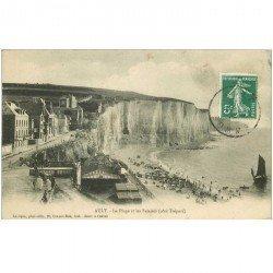 carte postale ancienne 80 AULT. La Plage et les Falaises 1909