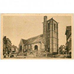 carte postale ancienne 80 AULT. L'Eglise et Autocar 1956